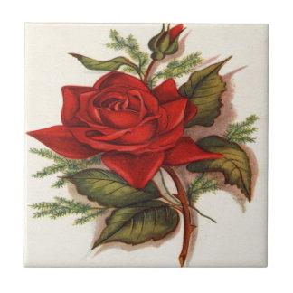 Vintage, Red Rose, Wife Birthday, Ceramic Tile