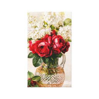 Vintage Red Roses and Baby's Breath Canvas Prints