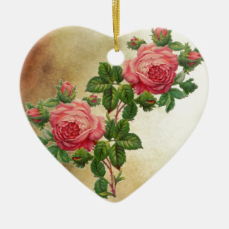 vintage red roses ceramic heart decoration
