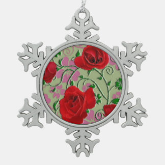 Vintage Red roses christmas Pewter Snowflake Decoration
