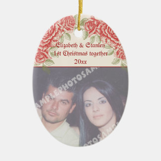 Vintage Red roses Couple's first Christmas photo Ceramic Oval Decoration