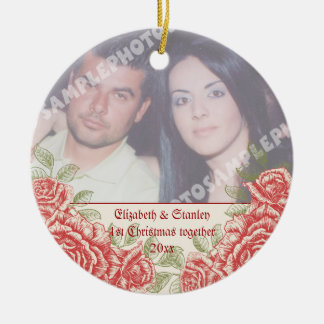 Vintage Red roses Couple's first Christmas photo Round Ceramic Decoration