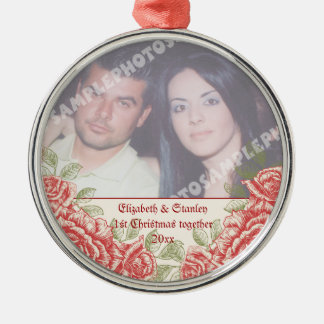 Vintage Red roses Couple's first Christmas photo Silver-Colored Round Decoration