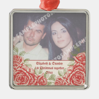 Vintage Red roses Couple's first Christmas photo Silver-Colored Square Decoration