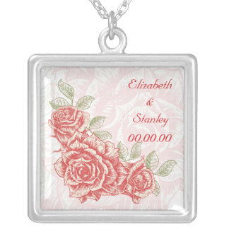 Vintage red roses custom necklace