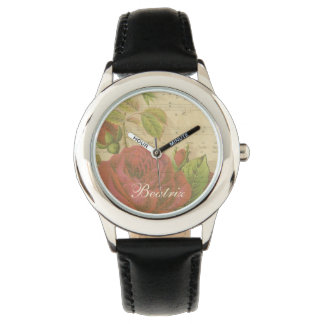 Vintage Red Roses Floral Music Sheet Custom Name Watch