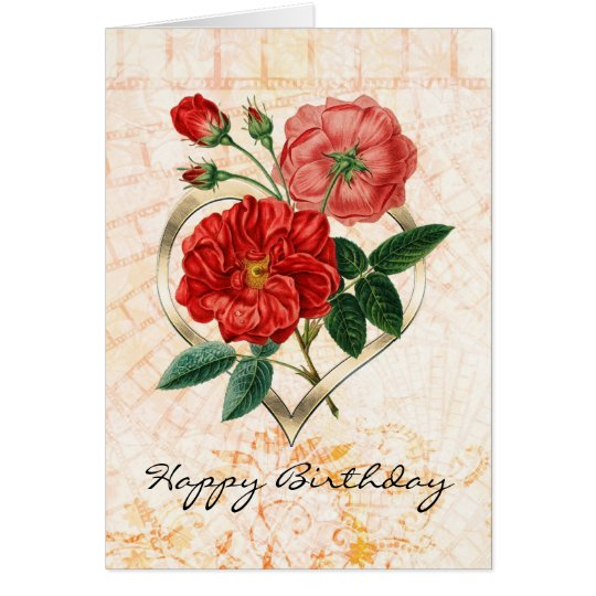 Vintage Red Roses in Gold Heart Birthday Card
