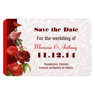 vintage red roses save the date elegant magnets