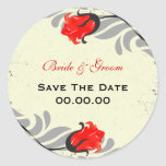 Vintage Red Roses Save The Date Sticker