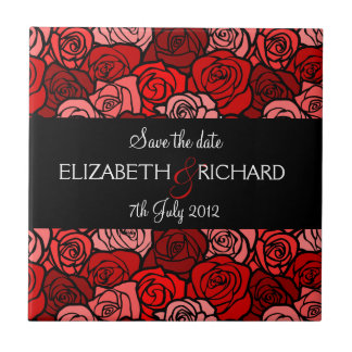 Vintage red roses Save the date Tile