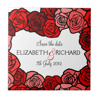 "Vintage red roses ""Save the date"" Tile"