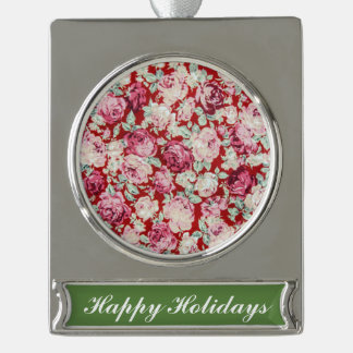 vintage red roses,victorian,floral,romantic,girly, silver plated banner ornament