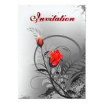 "Vintage Red Roses Wedding Invitations 5"" x 7"""