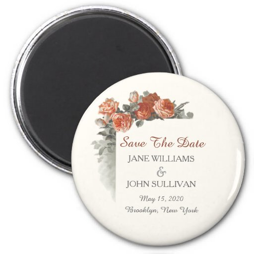 Vintage Red Roses Wedding Save The Date Refrigerator Magnets