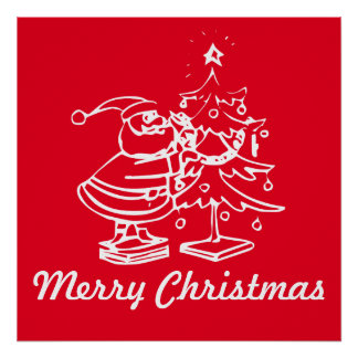 Vintage Red Santa Claus with Christmas Tree Poster