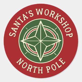 Vintage red Santa's Workshop North Pole sticker