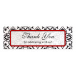 Vintage Red Silver and Black Damask Wedding Tags Pack Of Skinny Business Cards