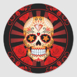 Vintage Red Sugar Skull with Roses Poster Round Stickers