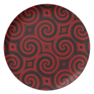 Vintage Red Swirly Texture Plate