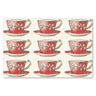 Vintage Red Teacups Tissue Paper