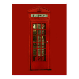 Vintage Red Telephone Box Postcard