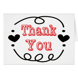 Vintage Red Thank You Black & White Swirly Hearts Note Card