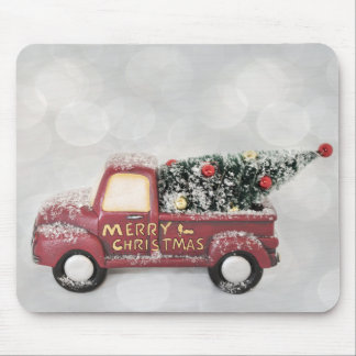 Vintage Red Toy Truck with a Christmas Tree Mouse Pad