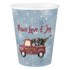 Vintage Red Toy Truck with a Christmas Tree Paper Cup