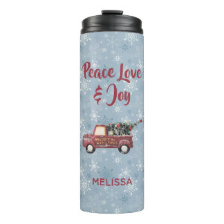 Vintage Red Toy Truck with a Christmas Tree Thermal Tumbler