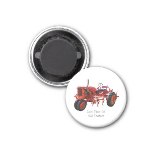Vintage Red Tractor 3 Cm Round Magnet