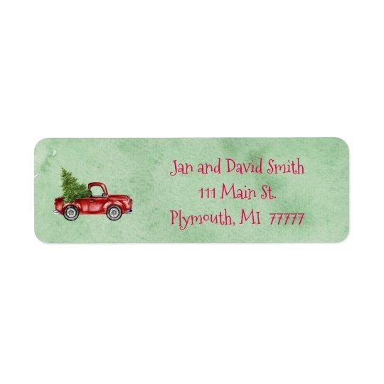 Vintage Red Truck Address Label