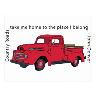 Vintage Red Truck Country Roads Postcard