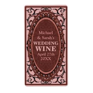 Vintage Red Victorian Wedding Wine Labels