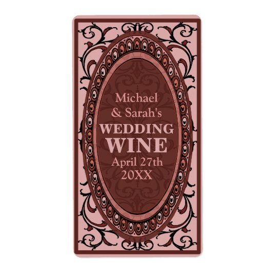 Vintage Red Victorian Wedding Wine Labels
