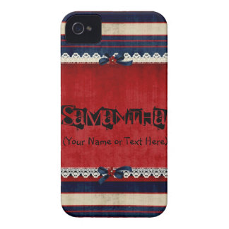 Vintage Red White and Blue Case-Mate iPhone 4 Case