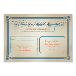 "Vintage Red White & Blue DIY Wedding RSVP 3.5"" X 5"" Invitation Card"