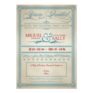 Vintage Red White & Blue Wedding Evening-Only Personalized Invites