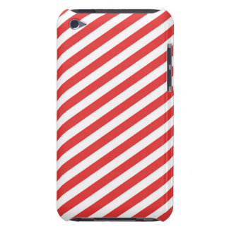 Vintage Red White Girly Stripes Pattern Barely There iPod Cover