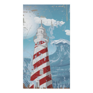 Vintage red white lighthouse grunge poster print