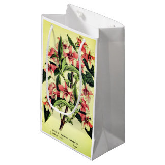 Vintage red white weigelia flower gift bag