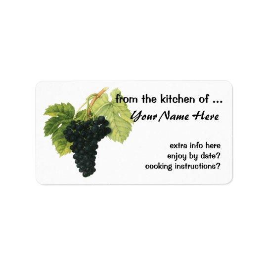 Vintage Red Wine Organic Grape Cluster, Food Fruit Address Label