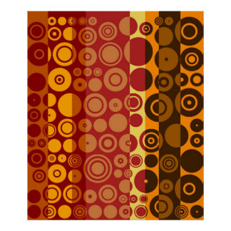 Vintage Red Yellow Brown Fifties Abstract Art Poster