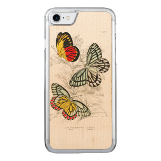 Vintage Red Yellow Butterflies Insects Carved iPhone 7 Case