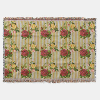 Vintage Red Yellow Peach Roses Gold Glitter Stripe