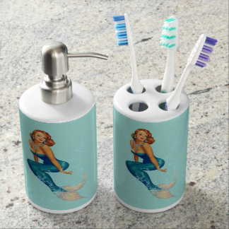 Vintage Redhead Pinup Mermaid in Diamonds Bathroom Set