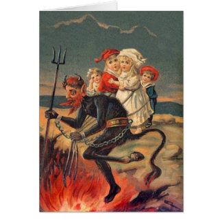 Vintage Redheaded Krampus Christmas Card