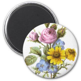 Vintage Redoute Flower Bouquet Magnet