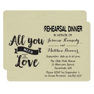 Vintage Rehearsal Dinner Black And Tan Wedding Card
