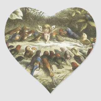 Vintage Rehearsal In Fairyland 1870 Heart Stickers