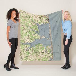 Vintage Rehoboth & Bethany Beach DE Map (1944) Fleece Blanket